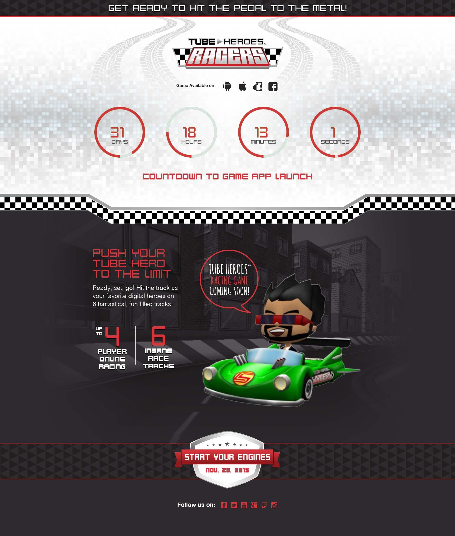 Tube Heroes Racers landing page