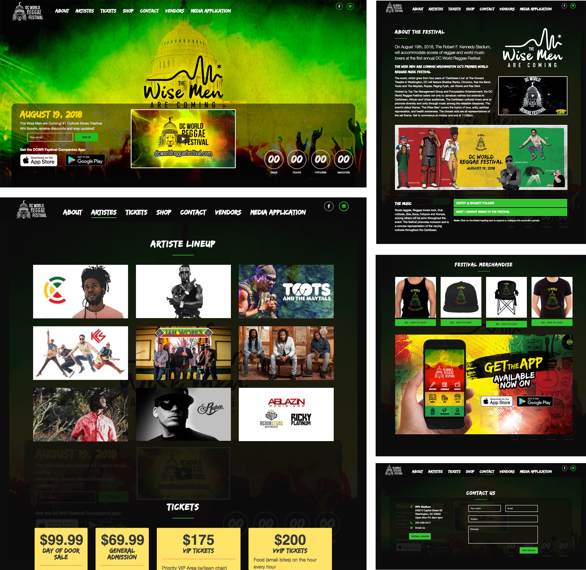 DC World Reggae Festival website design
