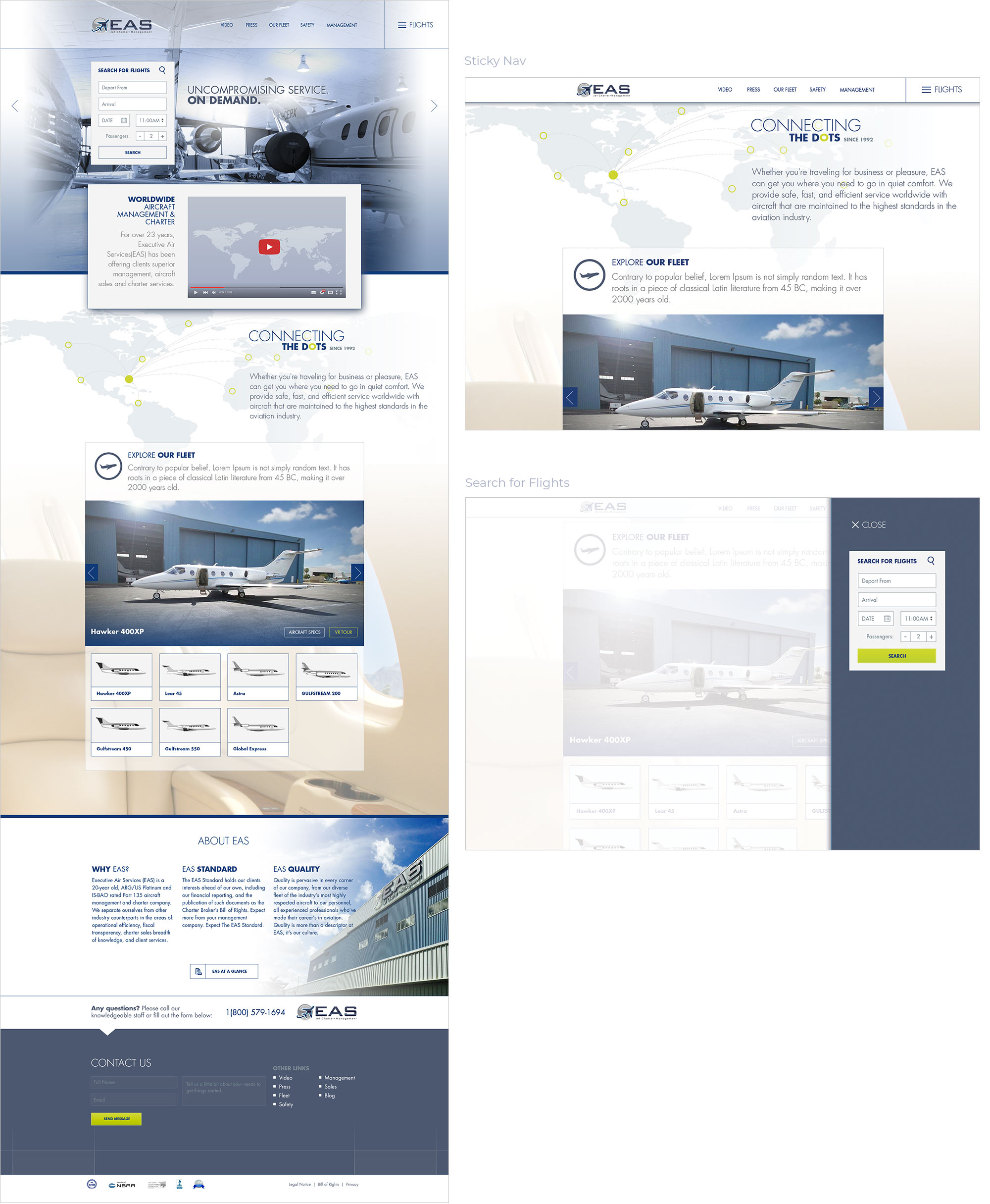 EAS Charter Management website mockup