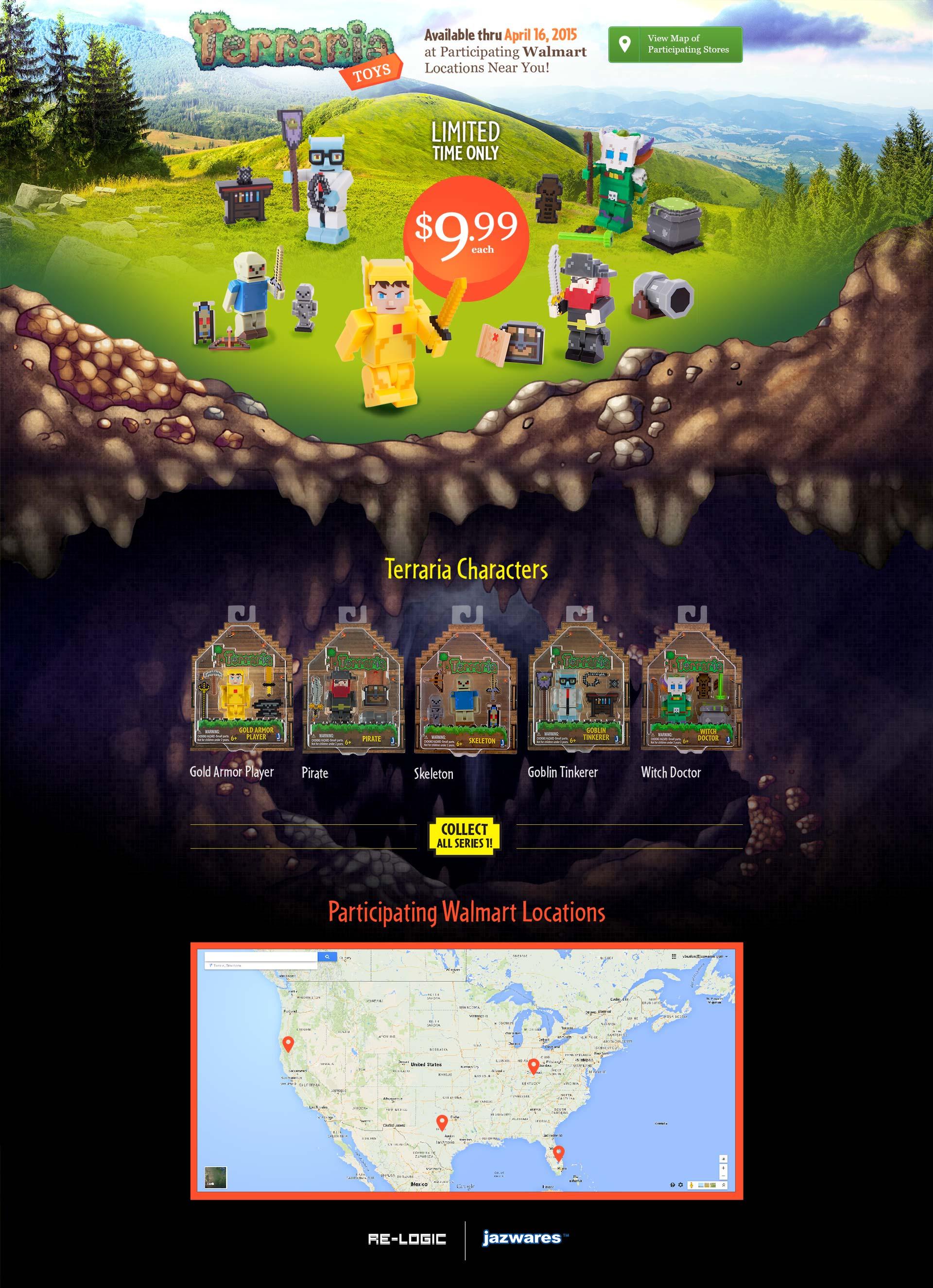 Terraria Toys landing page