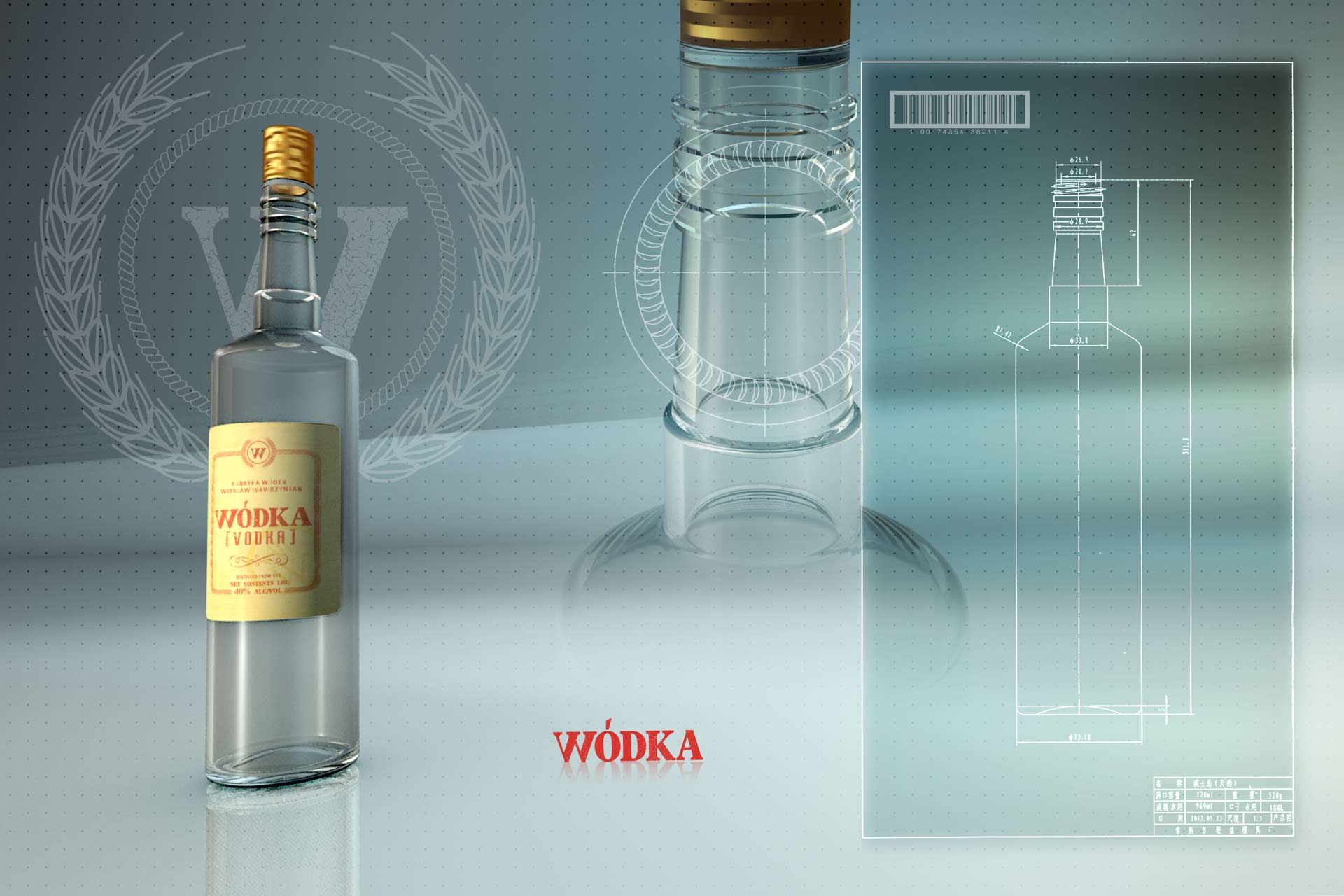Vodka 3D Bottle Rendering